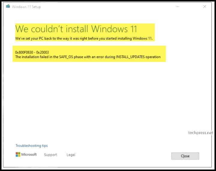 We couldn't install Windows 11. Error code 0x800F0830 - 0x2003